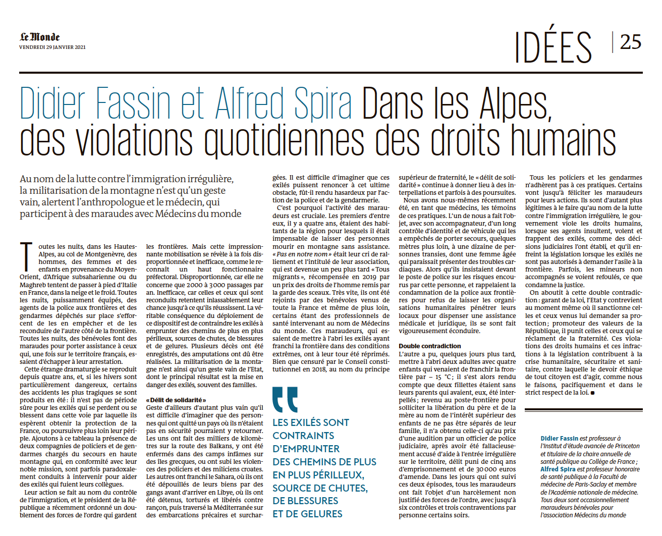 Tribubne Didier Fassin et Alfred Spire / Le Monde 29 janvier 2021